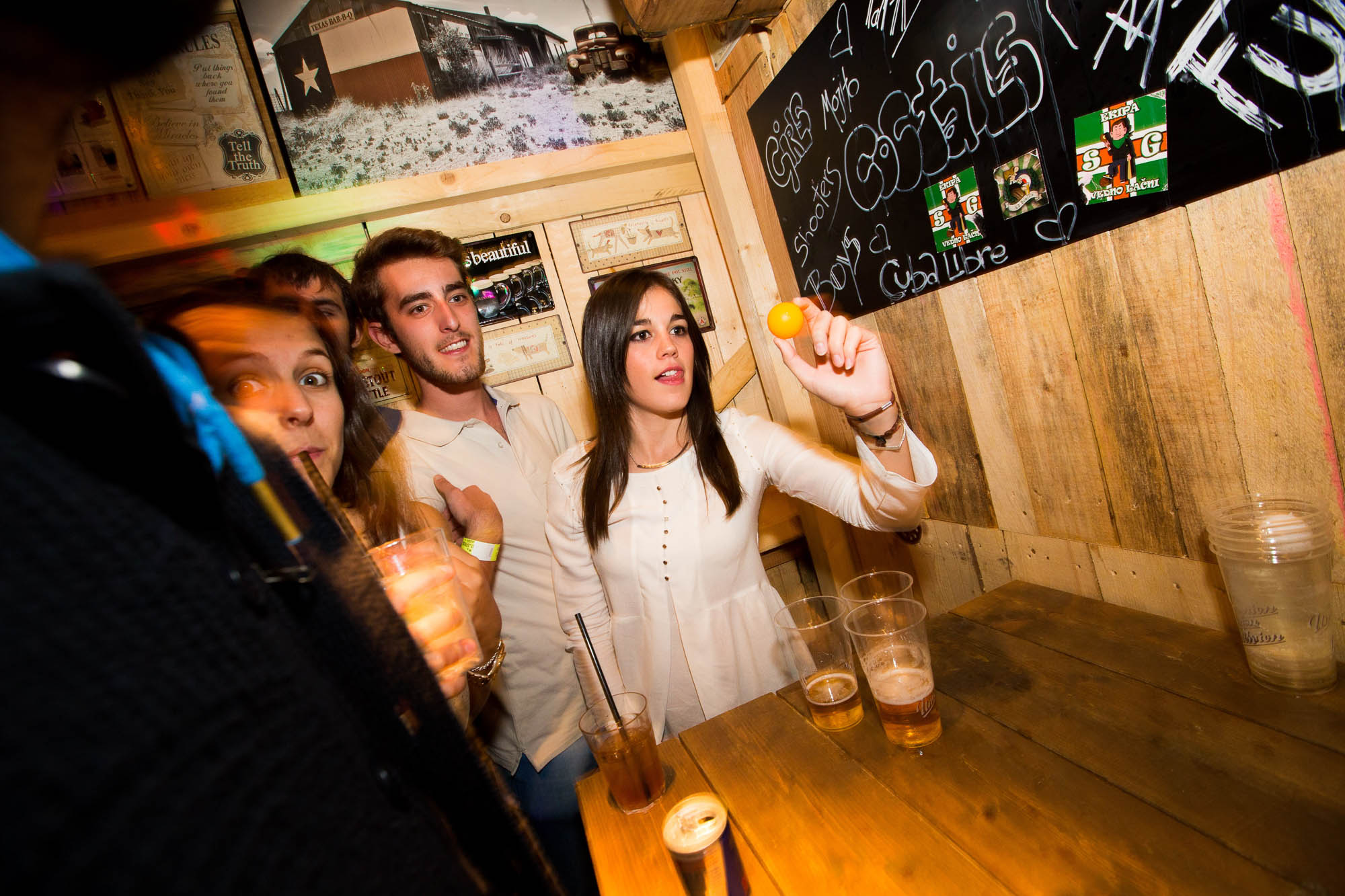 Playing beer pong is always a great pub crawl idea